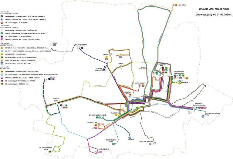 Układ linii miejskich obowiązujący od 01.03.2020.